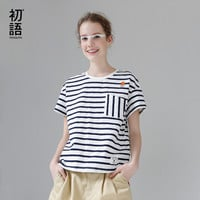 Toyouth T-Shirts 2017 Summer Women T Shirt Cotton Embroidery Striped Casual Straight Short Sleeve O-Neck Tees Tops