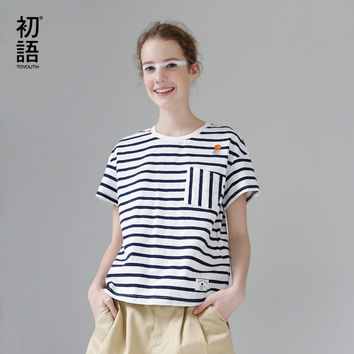 T Shirt Cotton Embroidery Striped Casual