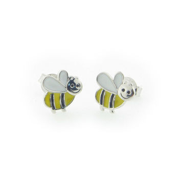 Silver Gold Plated Enamel Bummble Bee  Stud Earrings