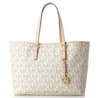 Michael Kors Jet Set Travel Medium Multifunction Tote in MK Signature