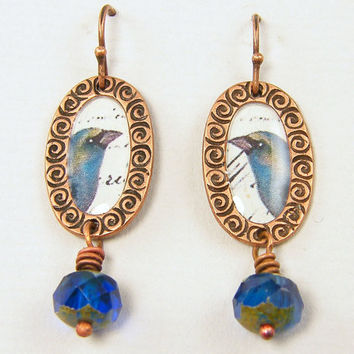 Bird Earrings. Blue Earrings, Copper Dangle Earrings, Bead Drop Collage Art Nature Jewelry