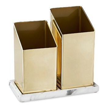 Nate Berkus™ Angled Brass Brush Holder