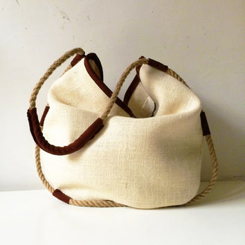 womens tote bag gifts for her, suede bag and jute, handmade shoulder bag with hemp rope, womens clothing made in italy
