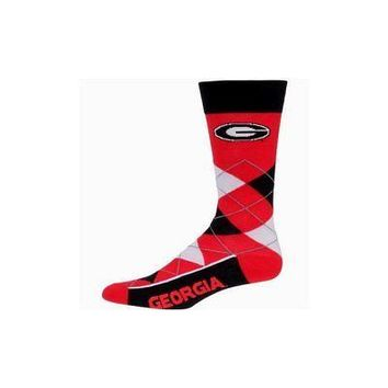 NCAA Georgia Bulldogs Argyle Unisex Crew Cut Socks - One Size Fits Most
