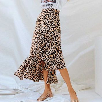 cb8aa70aba89 Fashion Printed Leopard Ankle-Length Skirt Women Casual High Wai