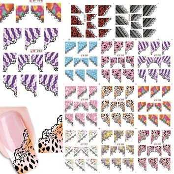 1sets 11designs Sexy Nail Art Stickers Water Transfer Stickers French Tips Mixed Designs Beauty Decorations Manicure LAB089-099