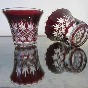 Cut Overlay Burgundy Glass Bowls Clear Finger Loop