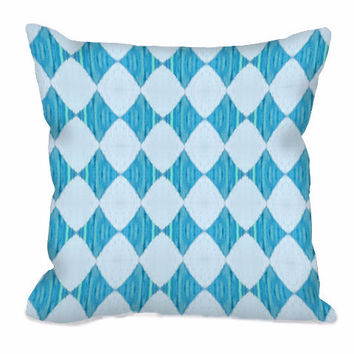 Ikat Style Diamond Pattern Throw Pillow in turquoise and ice blue