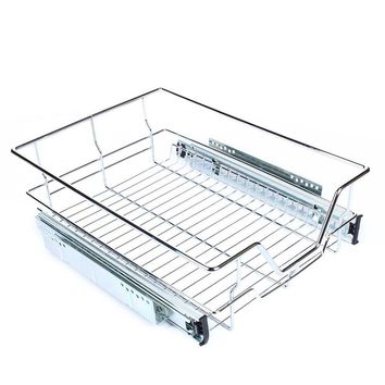 Kitchen Sliding Cabinet Organizer, Pull Out Chrome Wire Storage Basket Drawer.