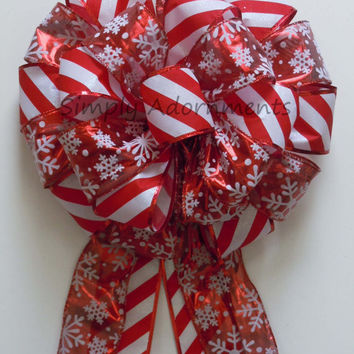 Red White Snowflake Christmas Tree Bow Christmas Tree Top Bow Wreath Swag Bow Winter Holidays Present Gift Bow