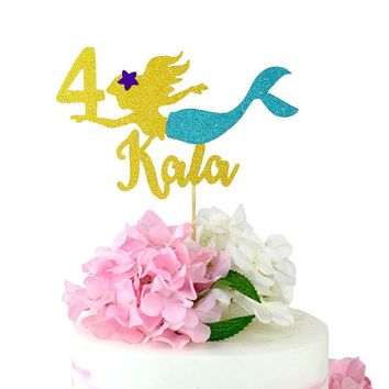 Mermaid Cake Topper Glitter Topper  Age Cake Topper Birthday Party Decorations Party Supplies Birthday Party Decorations kids