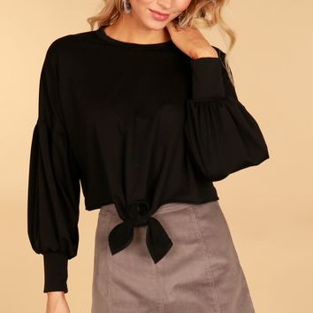 Long Sleeve Knot Top Black