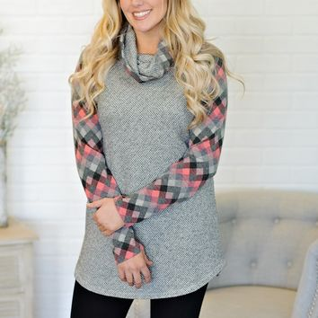 * Shannon Cowl Neck Checkered Tunic : Grey/Pink
