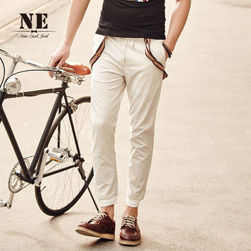 Summer White Casual Pants Cotton Korean Slim Skinny Pants [7951229059]