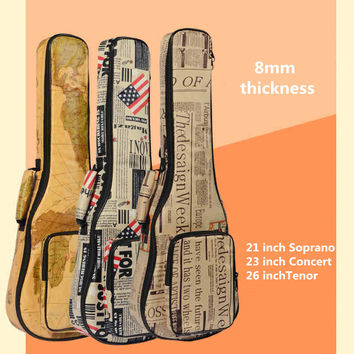 10mm Thick Leather Canvas Waterproof Soprano Concert Tenor Ukulele Bag Case Backpack 21 23 26 Inch Ukelele Guitar Gig
