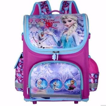 LMFCI7 Girls Butterfly School Bags Nylon Orthopedic Princess Elsa Backpacks for Primary Students Children Kids Bookbag Schoolbags