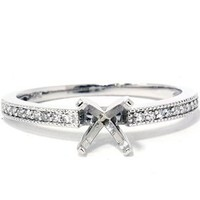 1/5ct Diamond Engagement Semi Mount Ring 14K White Gold