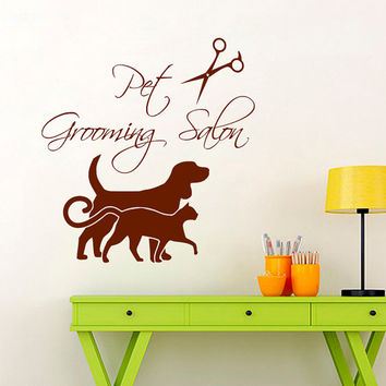 Cat Dog Wall Decal Pet Shop Vinyl Sticker Pet Grooming Salon Decal Scissors Art Mural Home Design Interior Living Room Animals Decor KI33