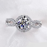 Rings White gold plated wedding fashion jewelry VSR076