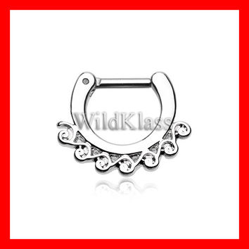 Septum Clicker 16g 14g Tidal Wave Filigree Septum Ring Earring Cartilage Piercing Tragus Ring Helix Conch Nose Belly Nipple