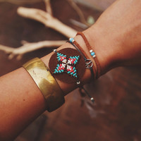 BLB-02, Free U.S. Shipping, handmade 4 points star beaded leather bracelet,boho,native American inspired,,hippie
