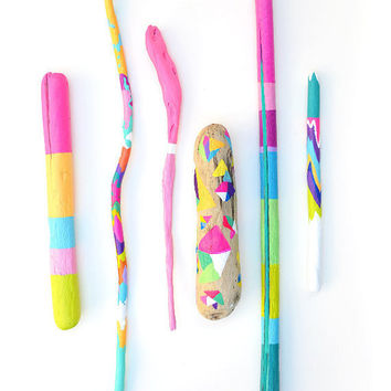 Painted Driftwood Sticks  Neon Colorful Color by bonjourfrenchie