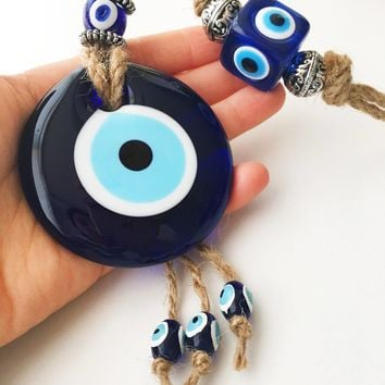 Evil eye home decor, evil eye wall hanging, turkish evil eye bead, blue glass evil eye beads