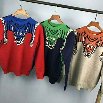 ESBUF3 Gucci Fashion Monogram Print Long Sleeve Splicing Knit Pullover Sweater G-G-JGYF