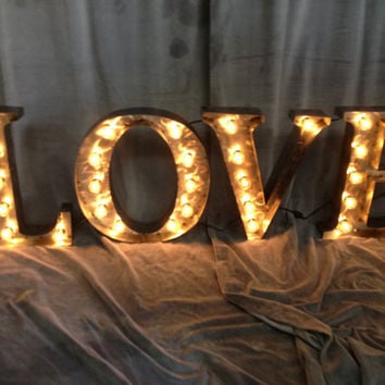 Marquee letters 18 inch tall LOVE sign by WestVintageTradingCo