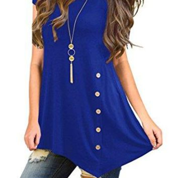 TASAMO Womens Short Sleeve Scoop Neck Button Side Tunic Top
