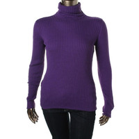 JM Collection Womens Cozy Yarn Ribbed Knit Turtleneck Sweater