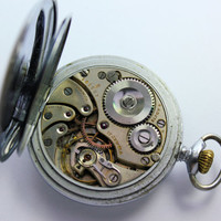 Vintage Record Watch Co Geneve Military Style Swiss Pocket Watch