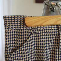 Vintage Haband of Paterson Polyester Knit Pants, Navy Blue and Gold Houndstooth  31 x 31