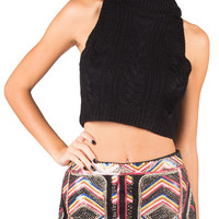 Cable Knit Cropped Sweater Tank - Black