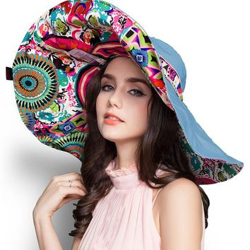 [SUOGRY] 2017 Fashion Design Flower Foldable Brimmed Sun Hat Summer Hats for Women UV Protection Free Shipping