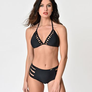 Vintage Style Black Knotted Triangle Bikini Top