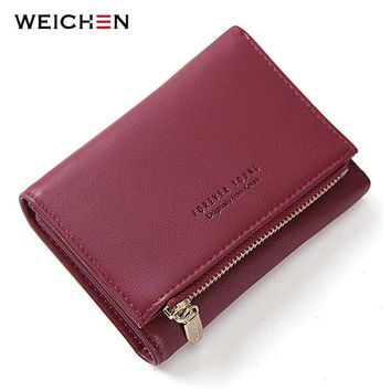 WEICHEN New Trifold Ladies Wallet With Zipper Coin Bag Card Holder Brand Designer Burgundy Women Wallets Fashion Female Purse