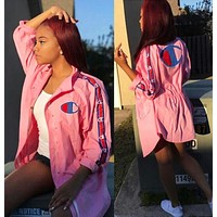 Champion Fashion Women Casual Cardigan Sweatshirt Jacket Coat Windbreaker Sportswear Pink