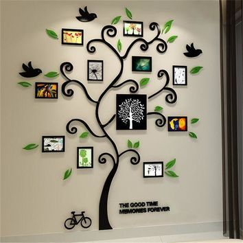 ESBONHS 2016 New 11pcs Photo Frame Tree Acrylic 3d Three-dimensional Wall stickers TV Sofa Home Decorative Diy Crystal Decal Family tree