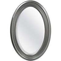 Oval Round Bathroom Mirror with Wall Hangers & Silver Frame