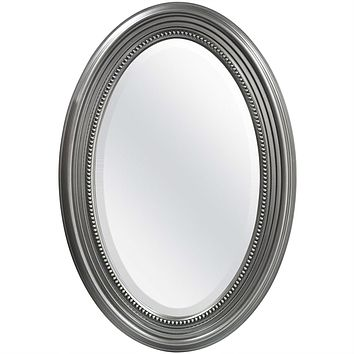 Oval Round Bathroom Mirror with Wall Hangers and Silver Frame
