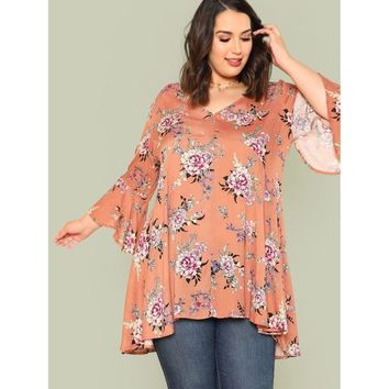Flared Bell Sleeve Floral Print Top MAUVE