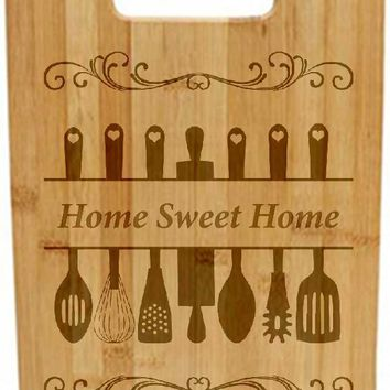 Laser Engraved Cutting Board - Utensils with Home Sweet Home