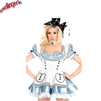Free Shipping PU Leather Alice in Wonderland Costume Lolita Dress Maid Cosplay Fantasia Carnival Halloween Costumes for Women