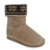 Off White Printed Fold Over Design Knitted Boots