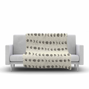 "KESS Original ""Phases Of The Moon"" Beige Gray Fleece Throw Blanket"