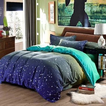 2017 Polyester Bedding Sets Hot Sales Duvet Cover Galaxy Bed Spread Bedlinen Soft Blue Bedding Set 3pcs Or 4pcs Twin Queen King