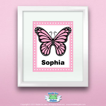 Personalized Pink Monarch Butterfly Print Wall Name by Madeforjake