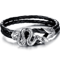 Black leather bracelet snake look wristband
