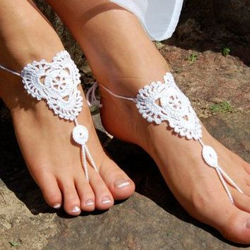 White Barefoot Sandals, Beach Shoes, Wedding Accessories, Nude Shoes, Yoga socks, Foot Jewelry